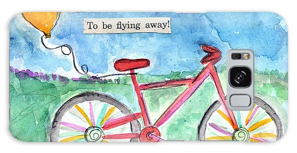 Celebration Galaxy Case - Flying Away- Bicycle And Balloon Painting by Linda Woods