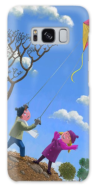 Flying Kite On Windy Day Galaxy Case