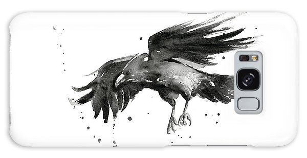 Bird Galaxy Case - Flying Raven Watercolor by Olga Shvartsur