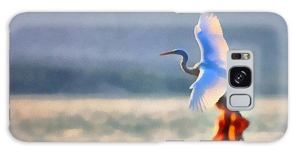 Flying White Egret Galaxy Case