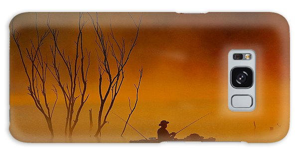 Foggy Morning Fisherman Galaxy Case