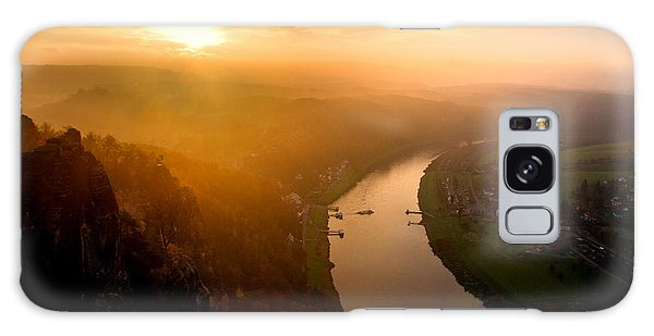 Foggy Sunrise At The Elbe Galaxy Case