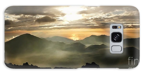 Foggy Sunrise Over Haleakala Crater On Maui Island In Hawaii Galaxy Case