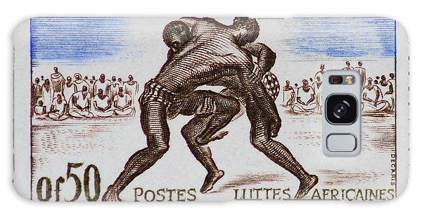 Folk Wrestling Vintage Postage Stamp Print Galaxy Case