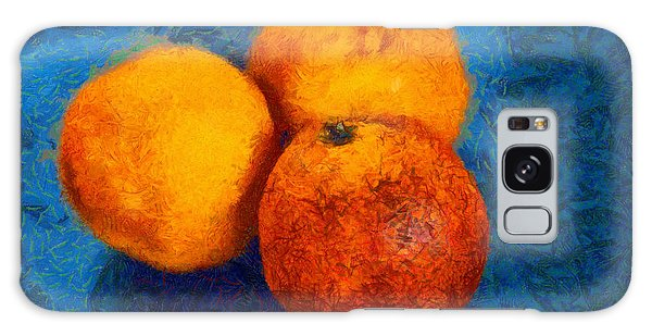 Food Still Life - Three Oranges On Blue - Digital Painting Galaxy Case