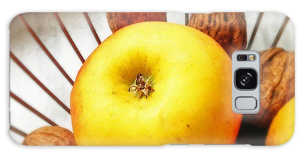 Orange Galaxy Case - Food Still Life - Yellow Apple And Brown Walnuts - Beautiful Warm Colors by Matthias Hauser