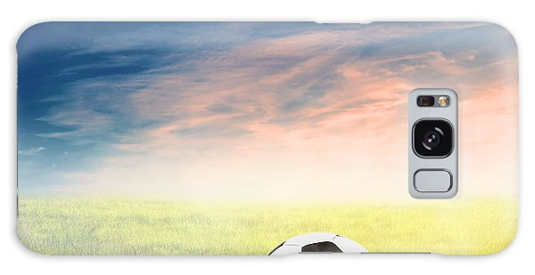Football Soccer Ball On Green Grass Galaxy Case