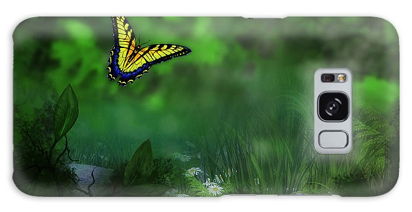Forest Glade Butterfly Background Galaxy Case