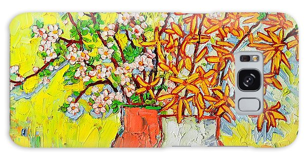 Forsythia And Cherry Blossoms Spring Flowers Galaxy Case