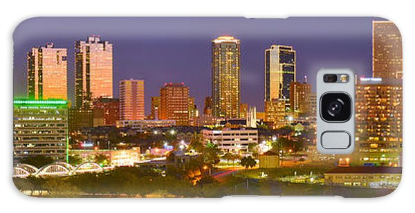 Fort Worth Skyline At Night Color Evening Panorama Ft. Worth Texas Galaxy Case by Jon Holiday