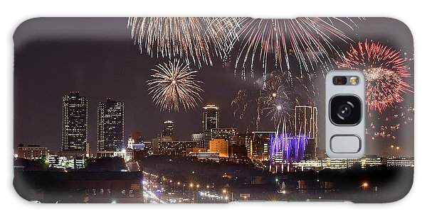 Fort Worth Skyline At Night Fireworks Color Evening Ft. Worth Texas Galaxy Case by Jon Holiday