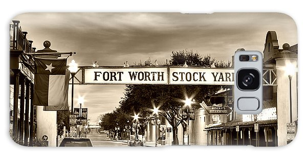 Fort Worth Stock Yards In Sepia Galaxy Case