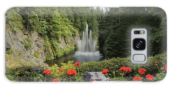 Fountain In Butchart Gardens Galaxy Case