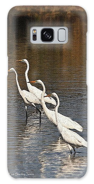 Four Egrets Fishing Galaxy Case by Tom Janca