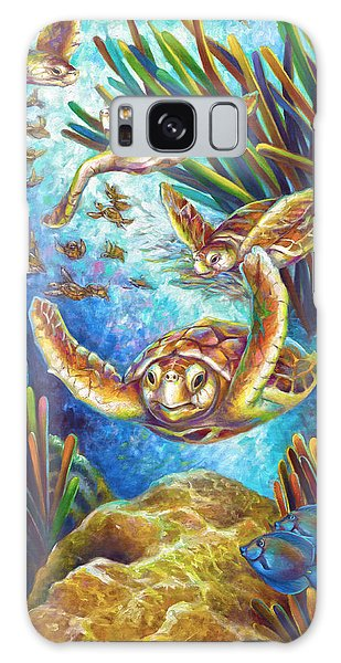 Four Loggerhead Turtles Galaxy Case by Nancy Tilles
