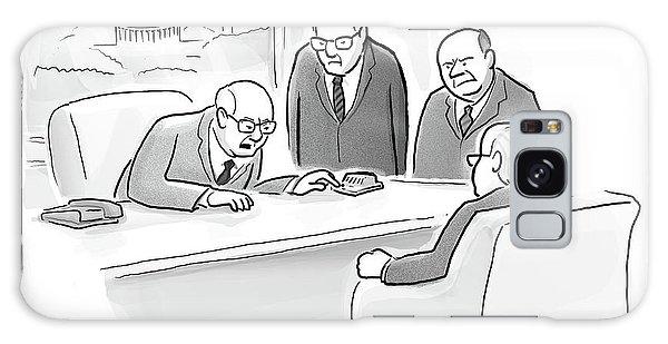 Four Old Washington Bureaucrats Stand Over A Desk Galaxy Case