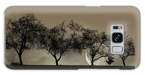 Four Trees And A Moon Galaxy Case
