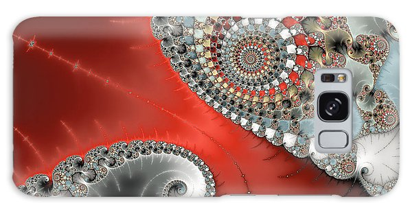 Fractal Spiral Art Red Grey And Light Blue Galaxy Case