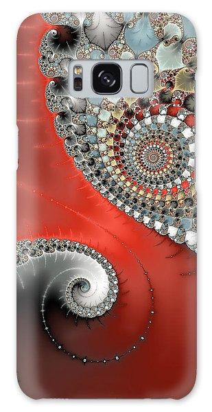 Fractal Spiral Art Red Grey And Light Blue Galaxy Case