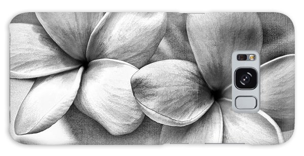 Frangipani In Black And White Galaxy Case by Peggy Hughes