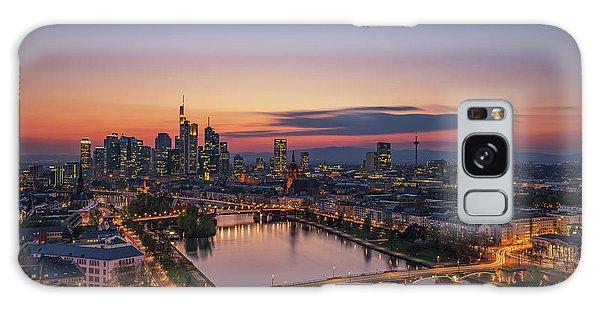 Long Exposure Galaxy Case - Frankfurt Skyline At Sunset by Robin Oelschlegel