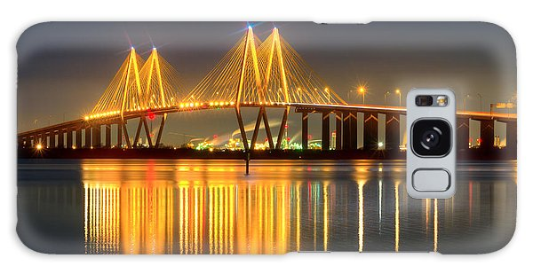 Fred Hartman Bridge At Night Galaxy Case