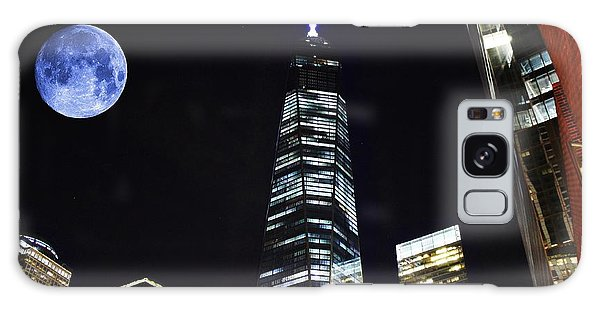 Freedom Tower And Blue Moon Galaxy Case by Natalie Ortiz