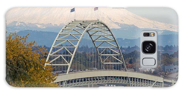 Fremont Bridge And Mount Saint Helens Galaxy Case