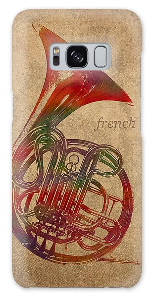 French Galaxy Case - French Horn Brass Instrument Watercolor Portrait On Worn Canvas by Design Turnpike