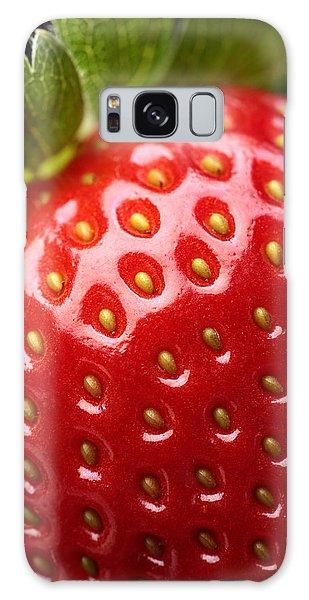Green Leaf Galaxy Case - Fresh Strawberry Close-up by Johan Swanepoel