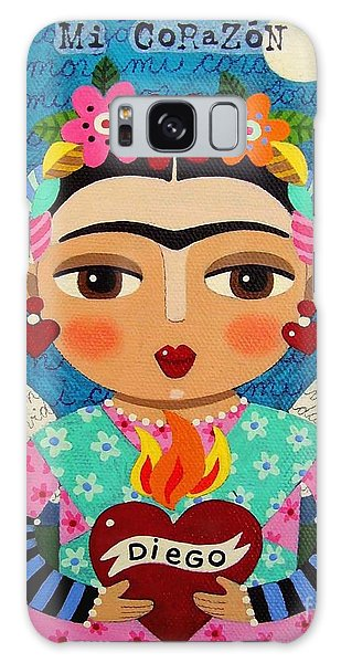 Mexico Galaxy Case - Frida Kahlo Angel And Flaming Heart by LuLu Mypinkturtle