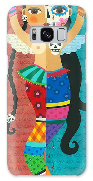 Skull Galaxy Case - Frida Kahlo Mermaid Angel With Flaming Heart by LuLu Mypinkturtle