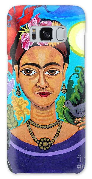 Frida Kahlo With Monkey And Bird Galaxy Case by Genevieve Esson