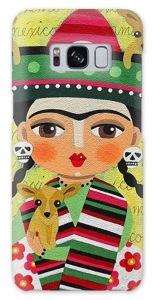 Frida Kahlo With Sombrero And Chihuahuas Galaxy Case