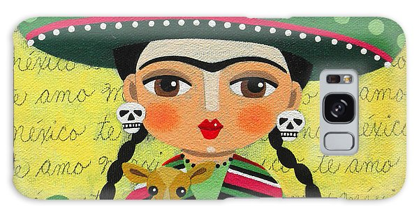 Skull Galaxy Case - Frida Kahlo With Sombrero And Chihuahuas by LuLu Mypinkturtle