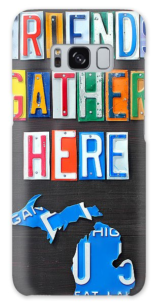 Friends Gather Here Recycled License Plate Art Lettering Sign Michigan Version Galaxy Case by Design Turnpike