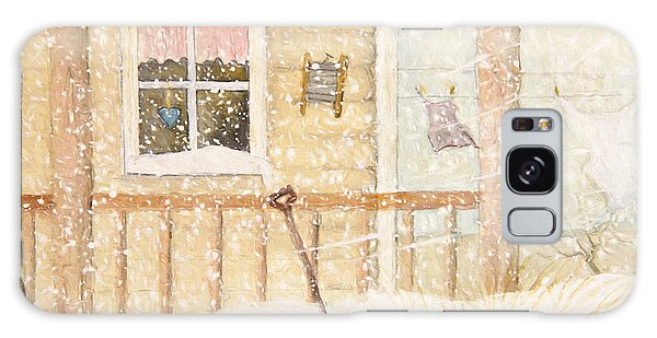 Galaxy Case featuring the photograph Front Porch In Snow With Clothesline/ Digital Watercolor by Sandra Cunningham