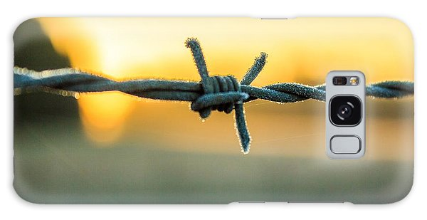 Frost On Barbed Wire At Sunrise Galaxy Case