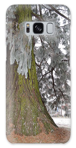 Frost On The Leaves Galaxy Case by Felicia Tica