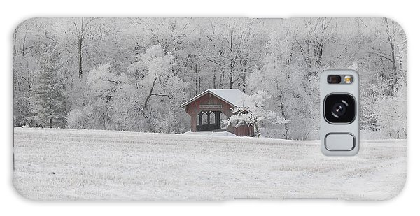 Frosty Morning Covered Bridge Galaxy Case