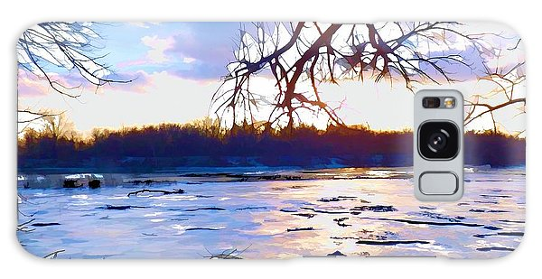 Frozen Delaware River Sunset Galaxy Case by Robyn King