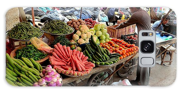 Fruit And Vegetable Seller Tends To His Cart Outside Empress Market Karachi Pakistan Galaxy Case