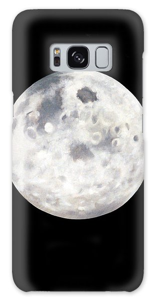 Full Moon In Black Night Galaxy Case