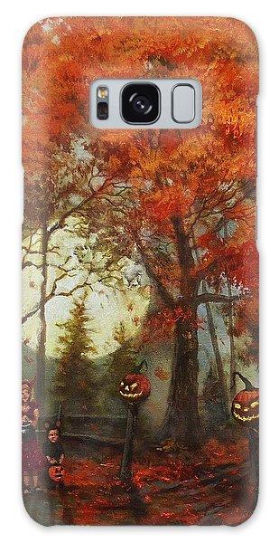 Halloween Galaxy Case - Full Moon On Halloween Lane by Tom Shropshire