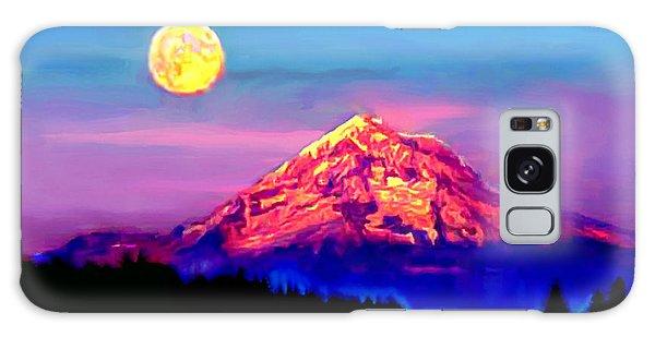 Full Moon Rising Over Mount Hood Oregon Galaxy Case