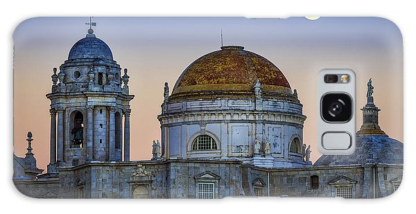 Full Moon Rising Over The Cathedral Cadiz Spain Galaxy Case by Pablo Avanzini