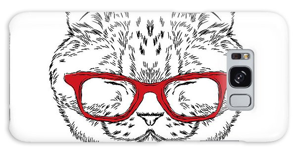 Watercolor Pet Portraits Galaxy Case - Funny Cat In A Tie And Glasses. Vector by Vitaly Grin