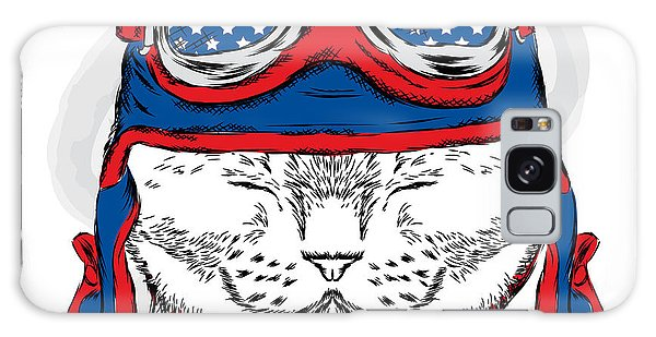 Scarf Galaxy Case - Funny Cat In The Hat And Scarf. Vector by Vitaly Grin