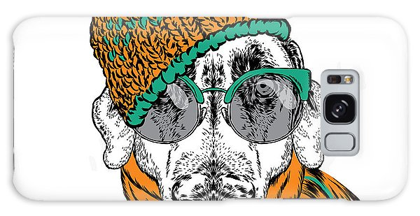 New Trend Galaxy Case - Funny Dog In Hat, Scarf And Glasses by Vitaly Grin