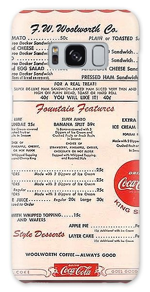 Fw Woolworth Lunch Counter Menu Galaxy Case by Thomas Woolworth